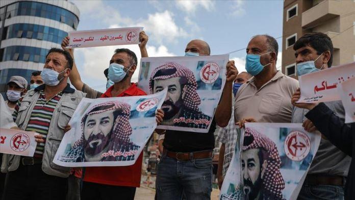 Gazzelilerden İsrail hapishanesinde açlık grevi yapan Filistinli tutukluya destek gösterisi
