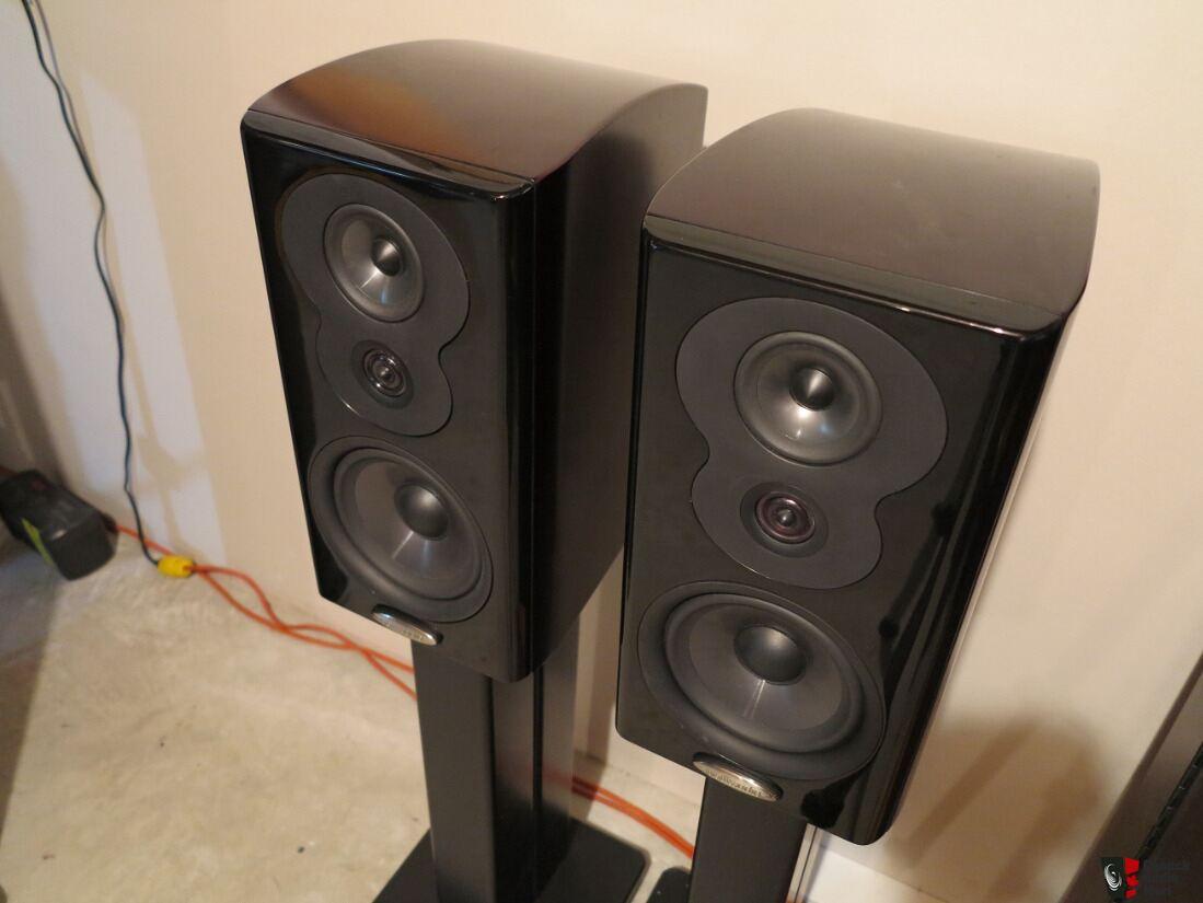 polk audio lsim 703 bookshelf speakers w/sand-filled, dual-post