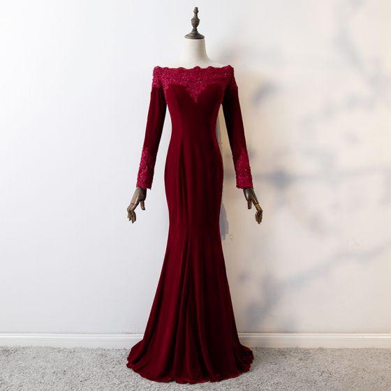Elegant Burgundy Evening Dresses 2019 Trumpet Mermaid Lace Flower Square Neckline Beading
