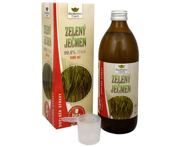 EkoMedica Czech Zelený ječmen - 99,8% šťáva ze zeleného ječmene 500 ml (z4907) od www.kosmetika.cz