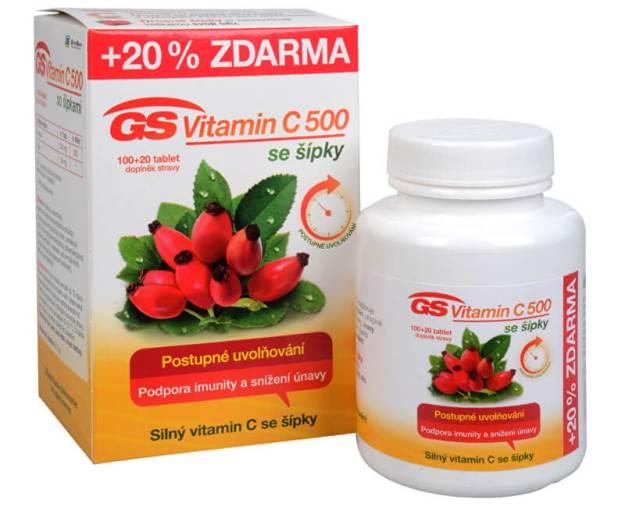 GS Vitamin C 500 + šípky 100 tbl. + 20 tbl. ZDARMA (z49844) od www.prozdravi.cz