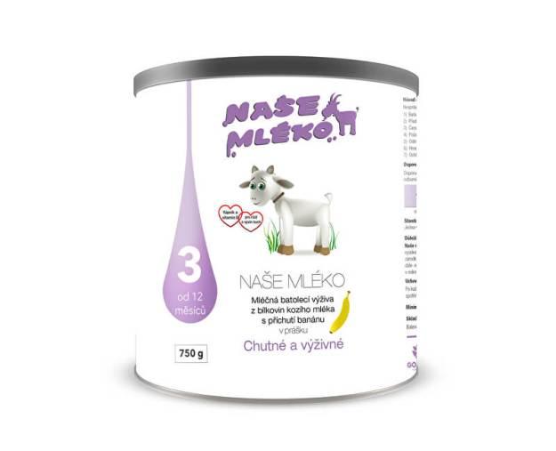 Naše mléko 3 (12 m+) s příchutí banánu 750 g (z54892) od www.prozdravi.cz
