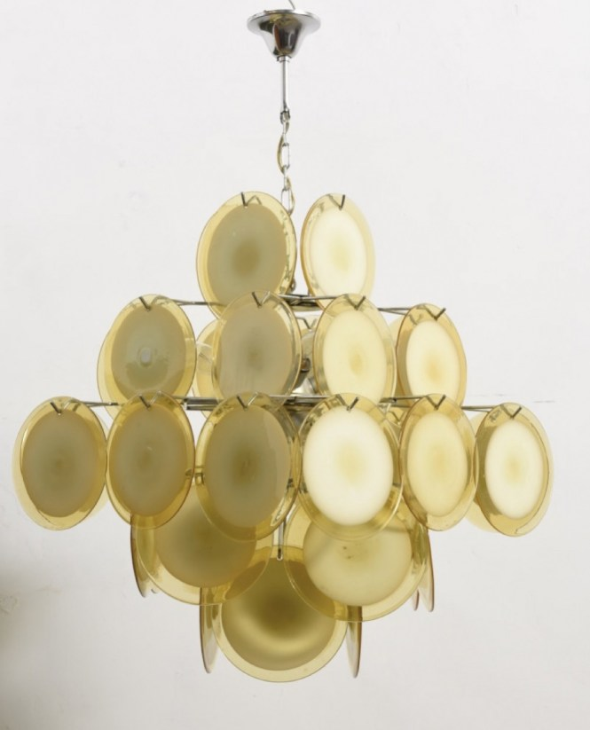 Large Amber Five Tiered Murano Glass Disc Chandelier By Vistosi 2 Sconces