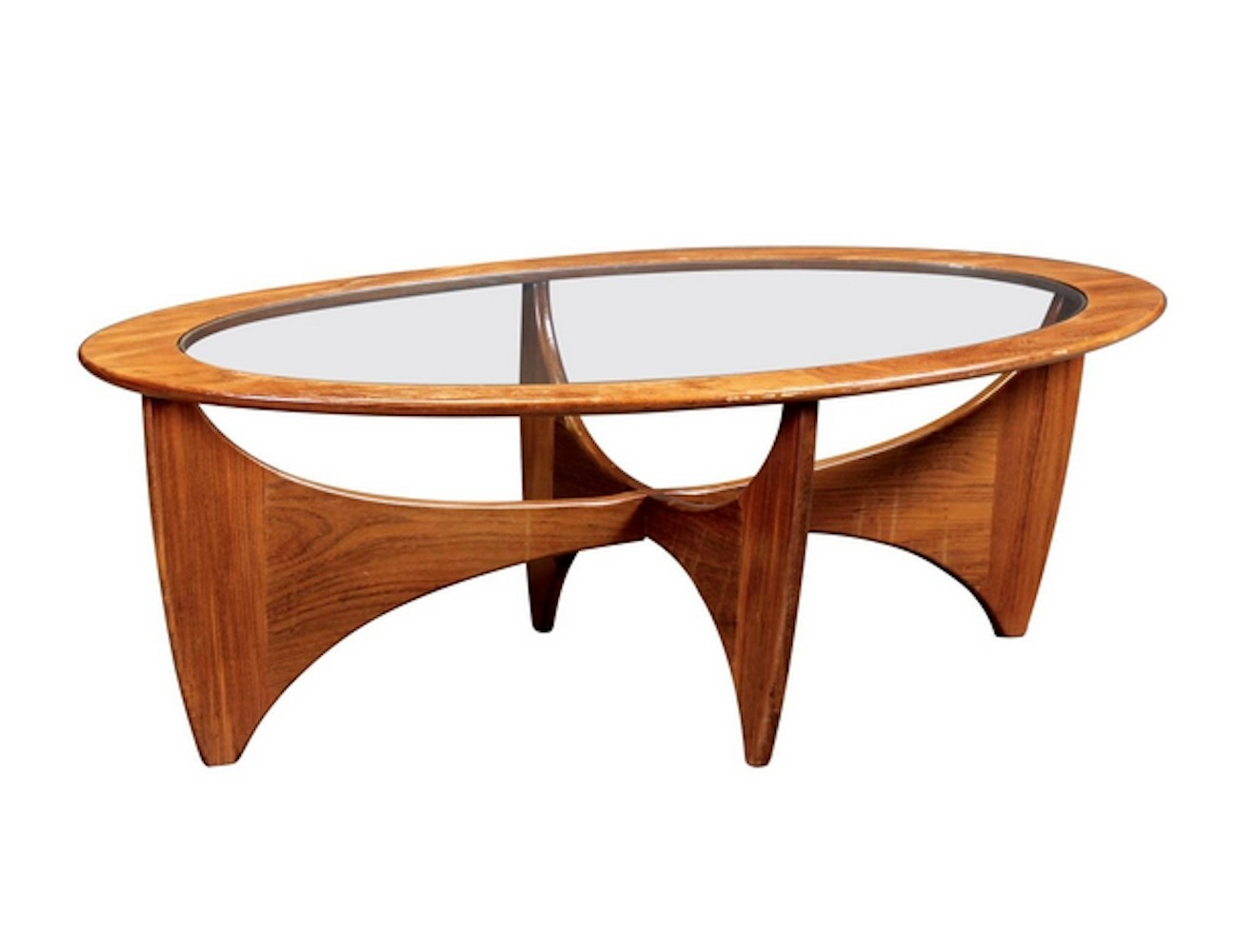 oval teak coffee table with glass top