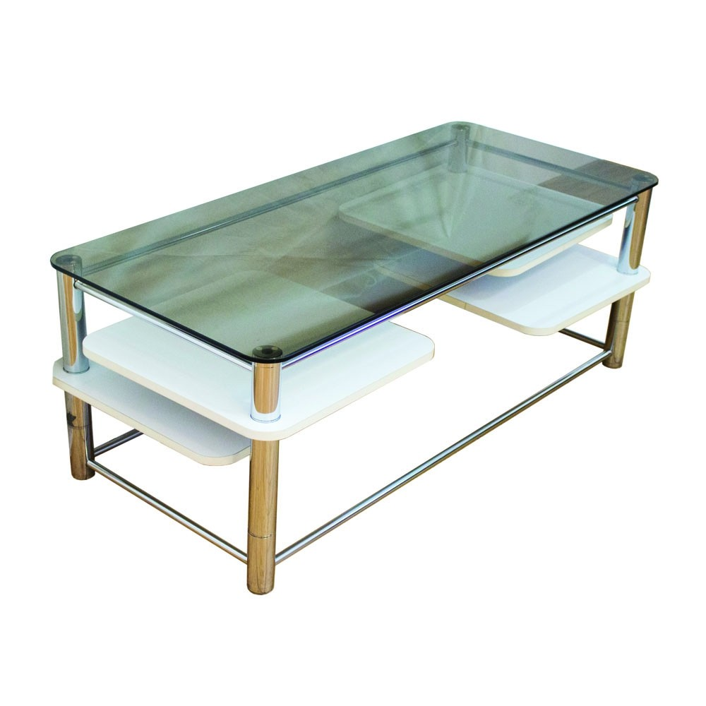mid century coffee table with a smoked