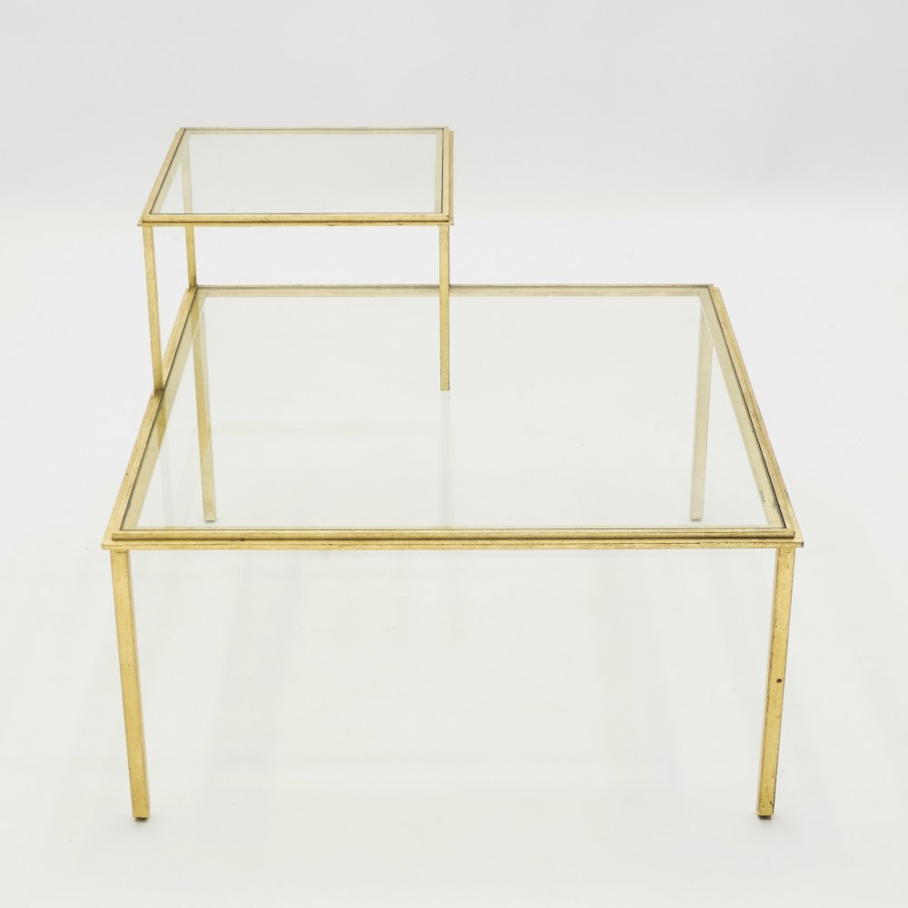 roger thibier gilt wrought iron glass coffee end table 1960s