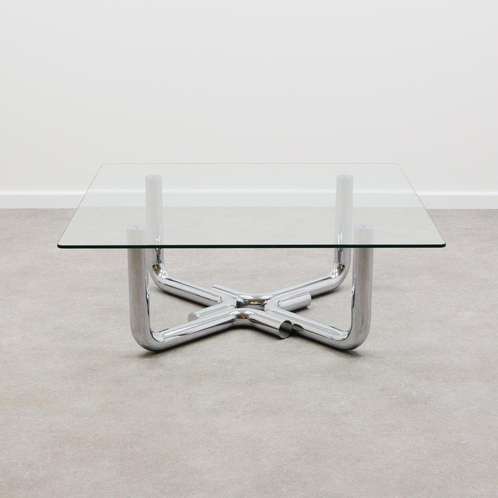 70 s design chrome glass coffee table