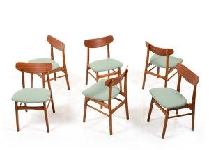 Set Of 6 Mid Century Danish Dining Chairs In Teak Oak
