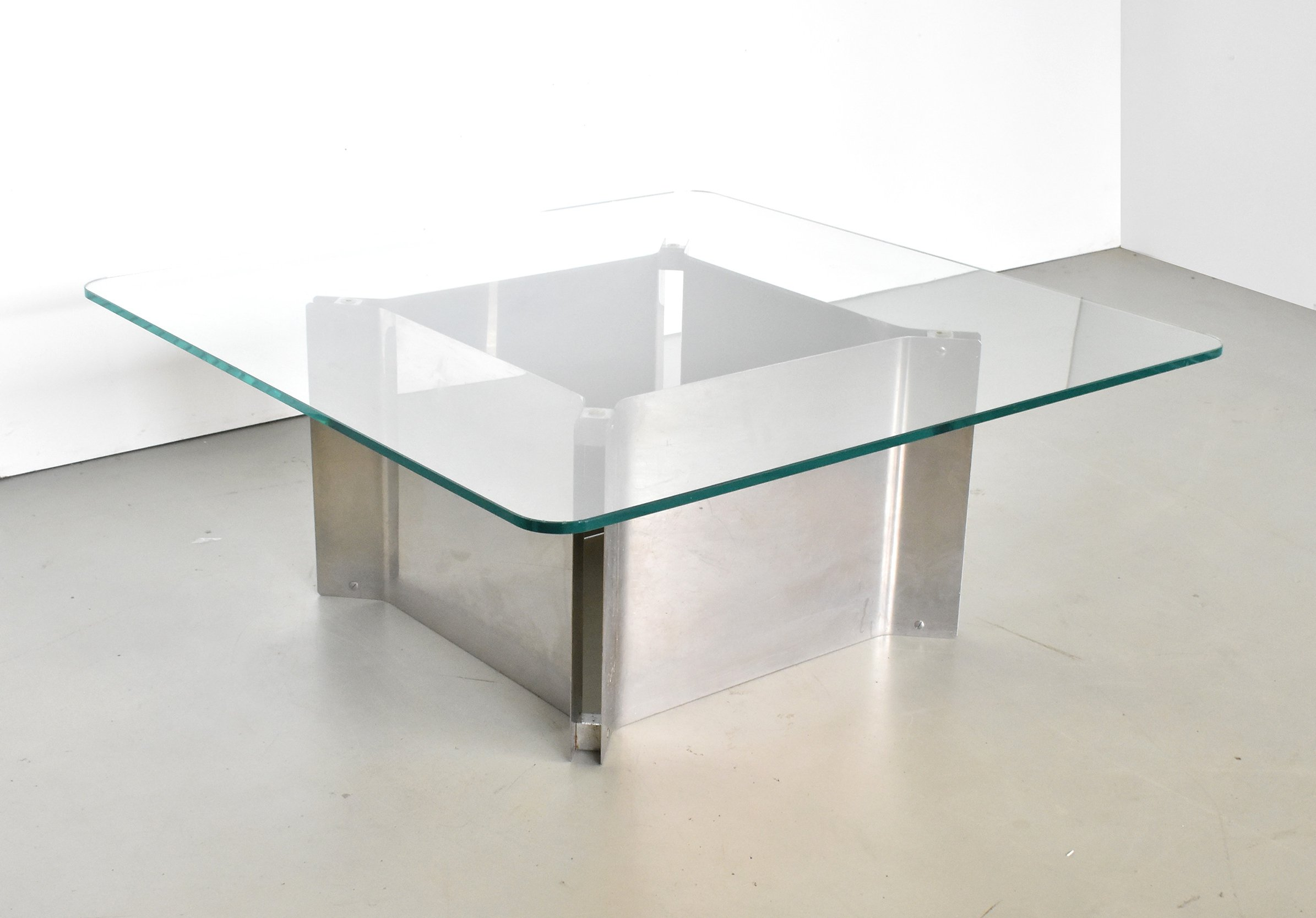 square coffee table with thick glass top chrome base 1970s