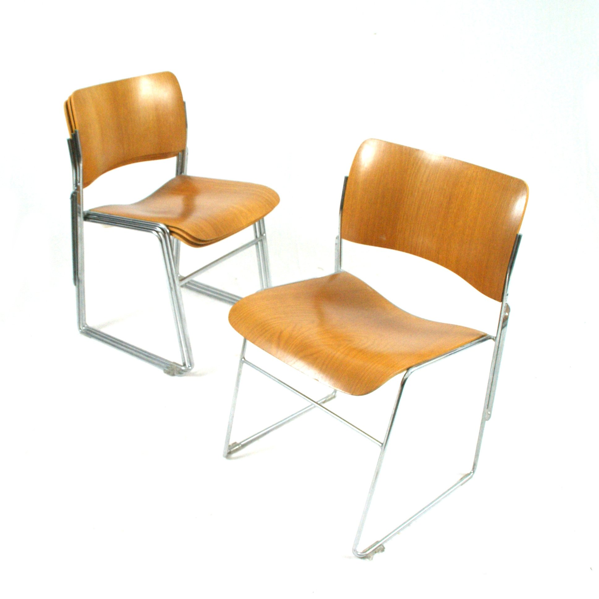 Set Of 4 Stackable Chairs By David Rowland For Seid