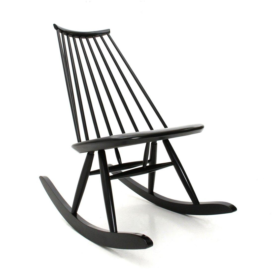 Midcentury Modern Black Mademoiselle Rocking Chair By Ilmari Tapiovaara For Artek 1950s