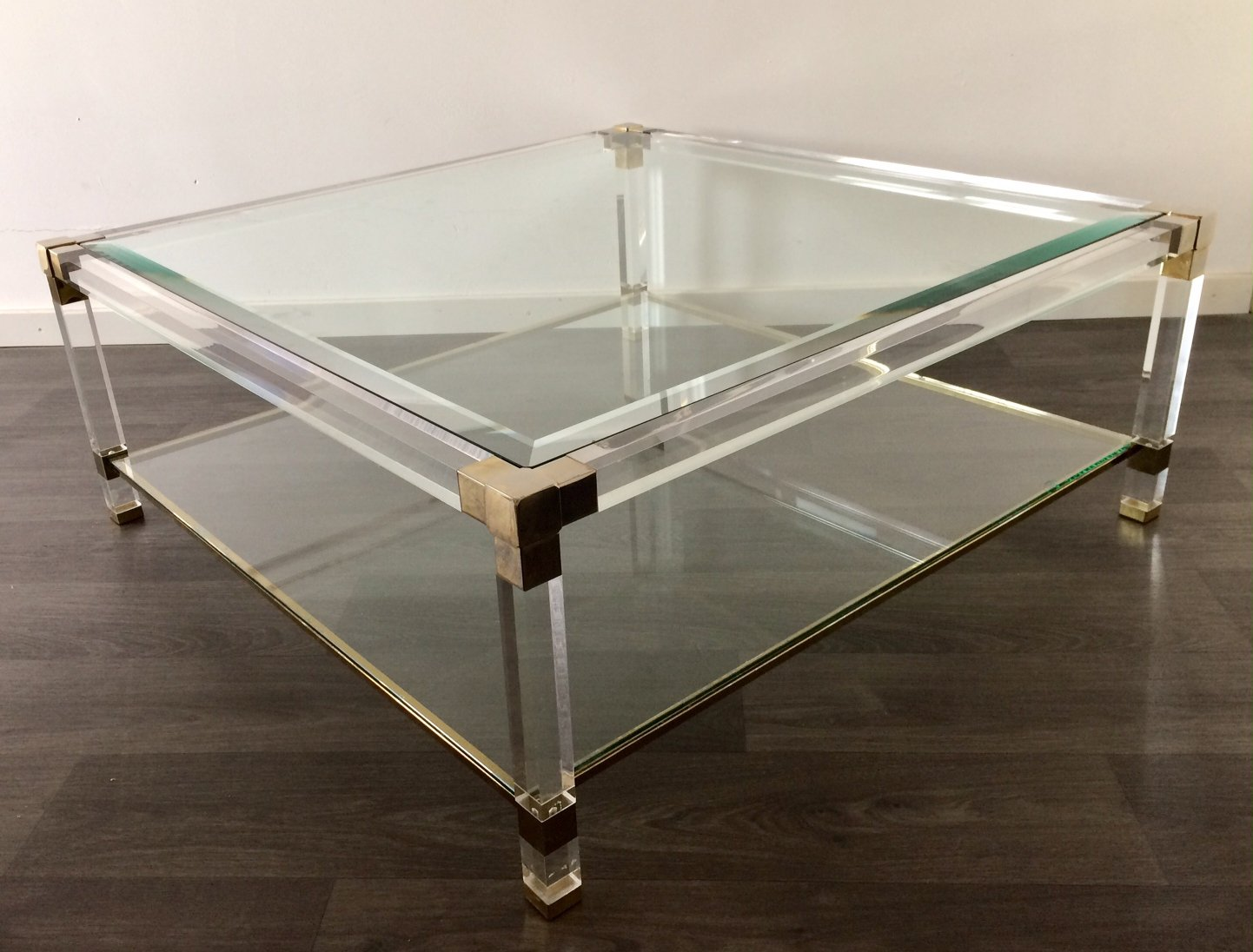 beveled glass square coffee table 112506