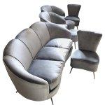 Mid Century Modern Grey Velvet Sofa Armchairs Chairs Poufs Circa 1950s