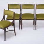 Set Of Four Model 110 Dining Chairs By Ico Parisi In Green Velvet 117543