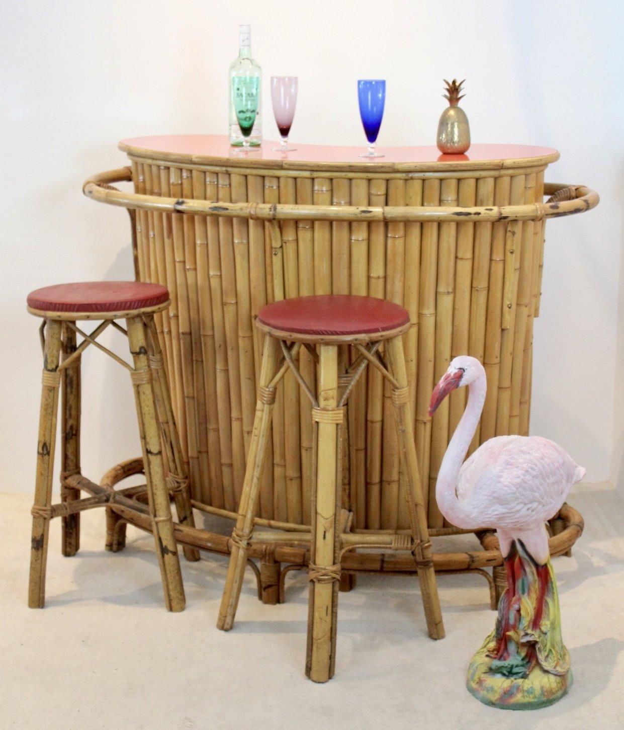 Chic Versatile French Mid Century Rattan Bamboo Tiki Bar With Stools 118440