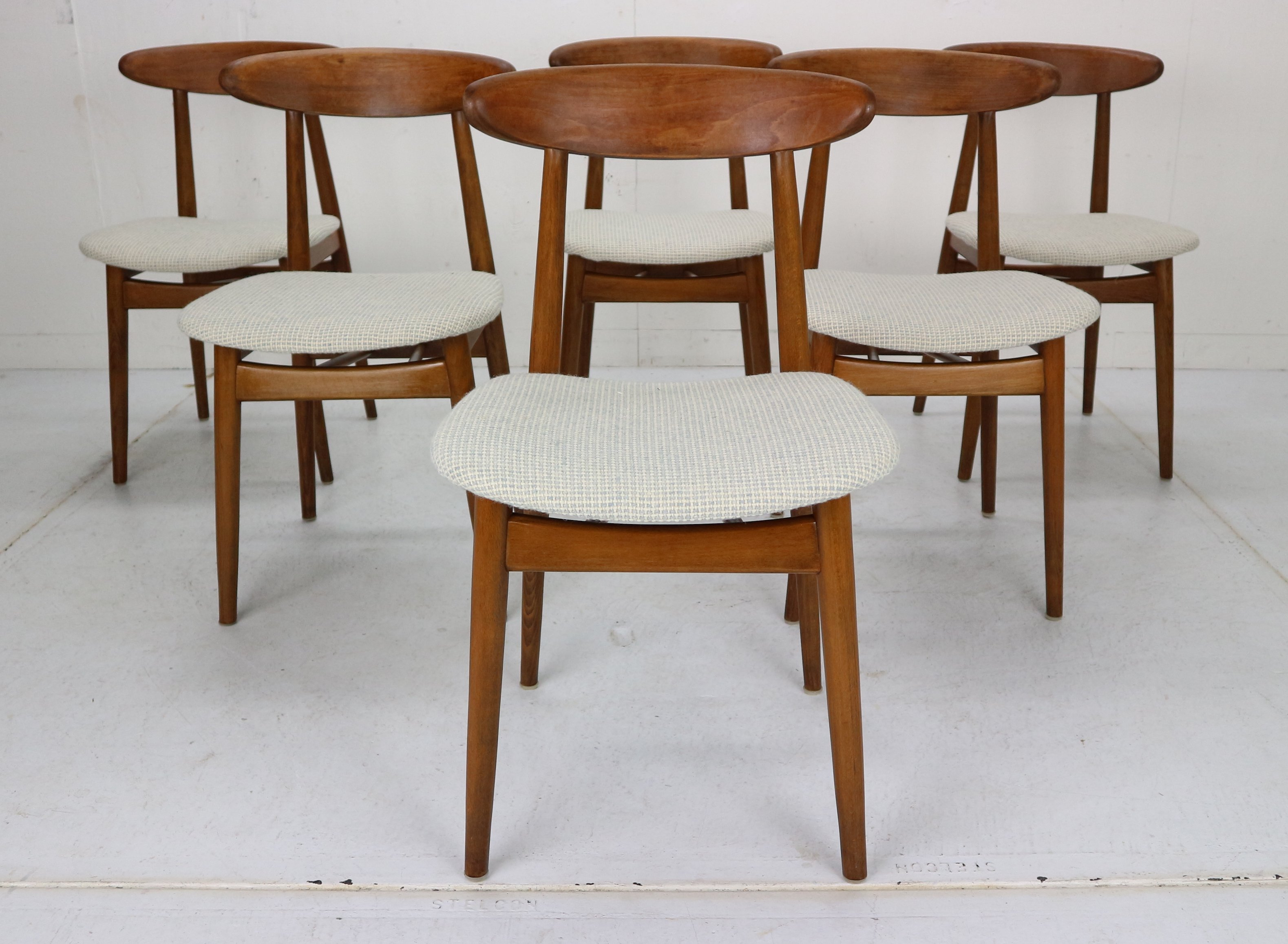 Set Of 6 Scandinavian Modern Danish Teak Dining Room Chairs 1960s 127254