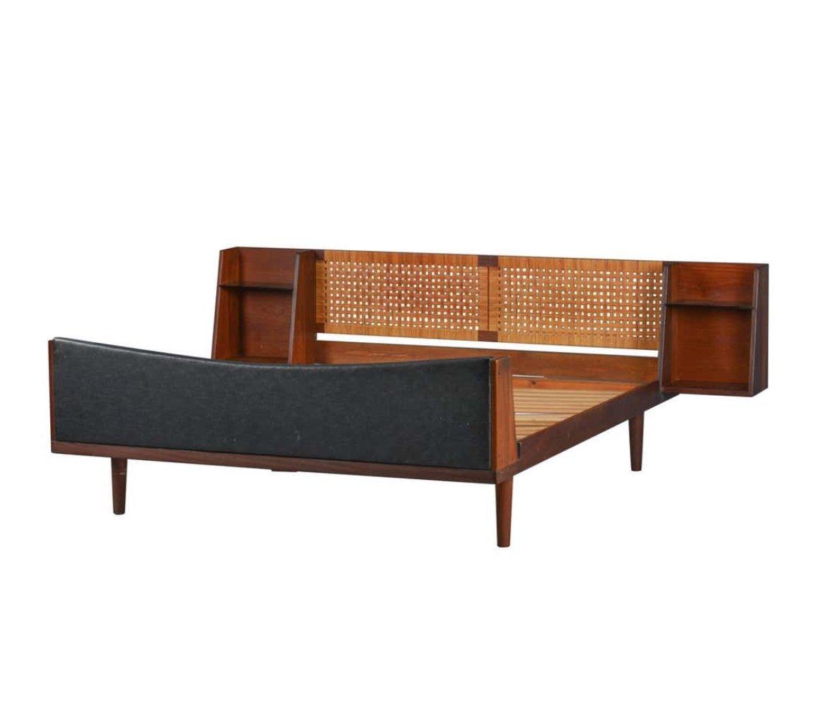 Danish Midcentury Teak Double Bed With Cane Headboard By Hans Wegner 130191