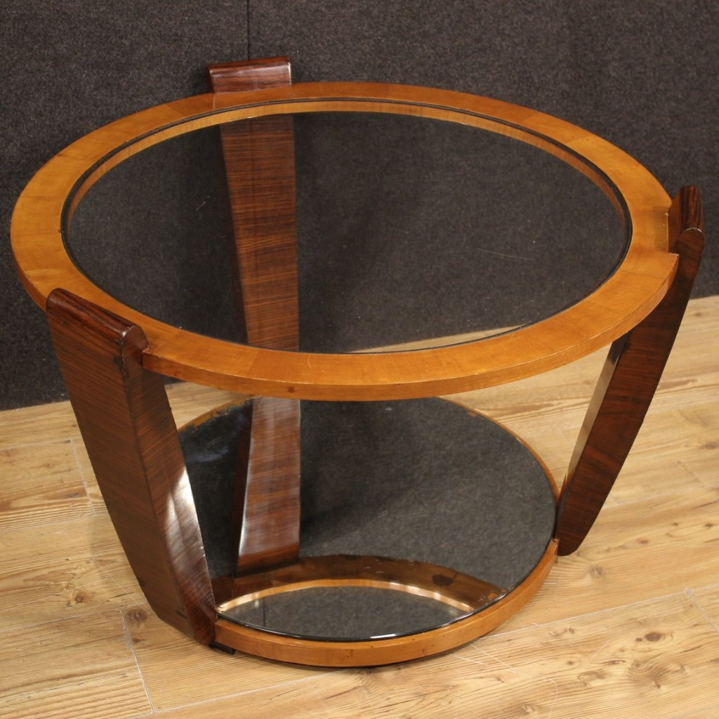 20th century palisander cherry wood italian design round coffee table 1960