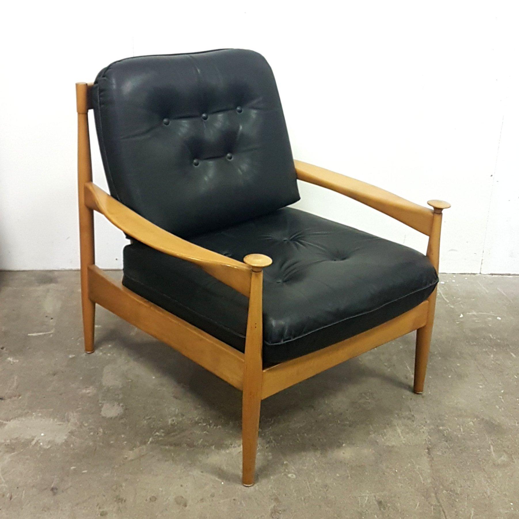 Mid Century Wood Leather Armchair Denmark 1960s 136452