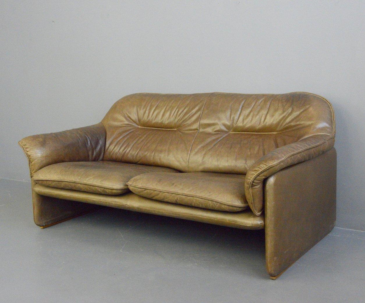 Mid Century Leather Sofa By De Sede Circa 1960s 137089