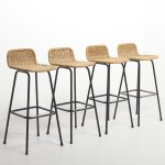 Set Of 4 Rattan Bar Stools By Rohe Noordwolde Netherlands 1960 S 145434