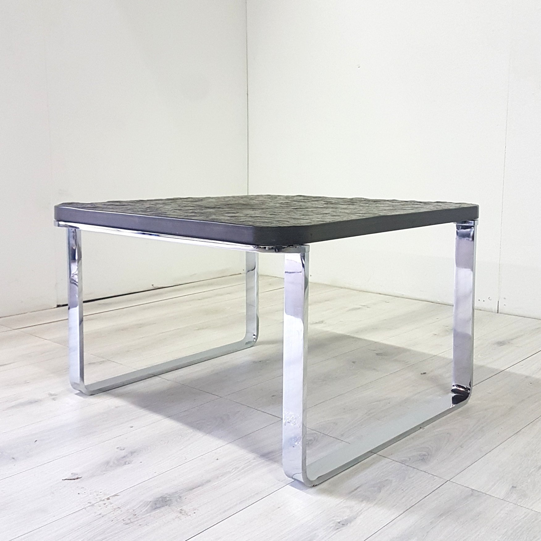 brutalist steel coffee table with solid black slate top by peter draenert 1980s