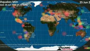 World map showing earthquakes above magnitude 3 during the past 24 hours on 25 Jun 2020