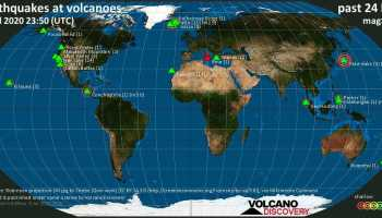 World map showing volcanoes with shallow (less than 20 km) earthquakes within 20 km radius during the past 24 hours on 5 Jul 2020 Number in brackets indicate nr of quakes.