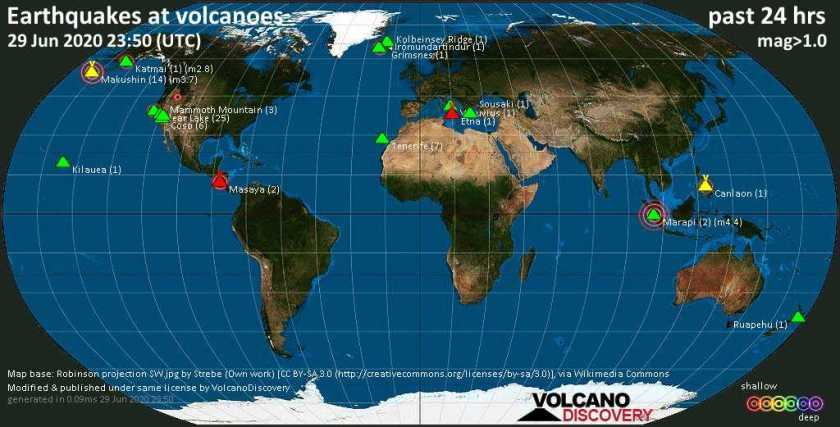 World map showing volcanoes with shallow (less than 20 km) earthquakes within 20 km radius  during the past 24 hours on 29 Jun 2020 Number in brackets indicate nr of quakes.