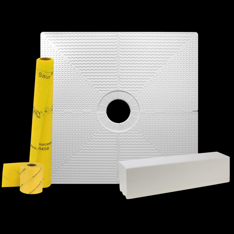 pro gen ii 48 x 48 tile waterproofing shower pan kit with center drain hole
