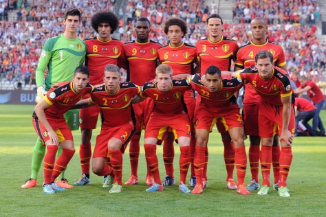 he Belgium national football team, prior to their World Cup qualifier against Serbia, on June 7, 2013. (Geert Vanden Wijngaert/AP)