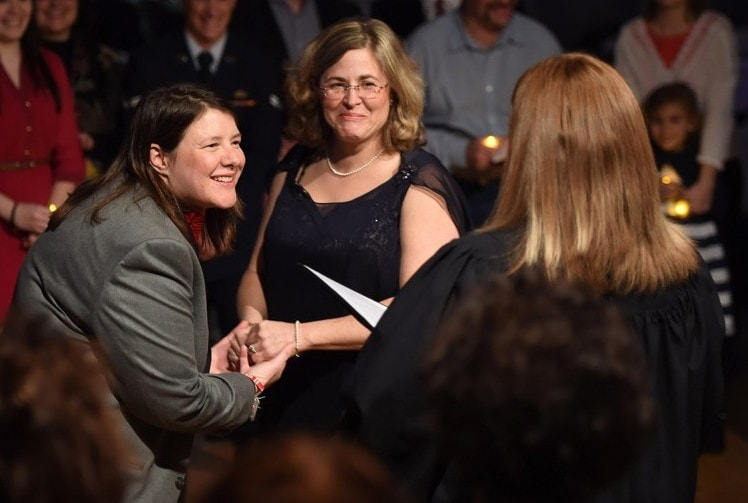 Kathryn Frazier (left) and Tracy Curtis were married on Jan. 03 in Norman, OK. (Matt McClain/The Washington Post)