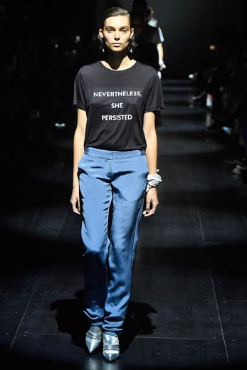 Prabal Gurung Fall/Winter 2017 collection wore T-shirts with feminist messages. (Photo by Marcelo Soubhia/MCV Photo for The Washington Post)