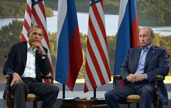 Obama and Putin, at the G8 Summit in Ireland, June 17, 2013. (JEWEL SAMAD/AFP/Getty Images)