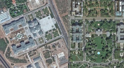 On the left, Google Earth image of the new Ak Saray in Ankara. On the right, the White House in Washington, D.C.