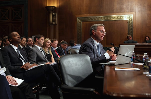 Google Executive Chairman Eric Schmidt testifies before a Senate Judiciary antitrust subcommittee in September 2011.