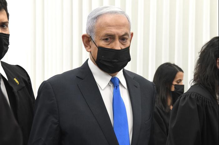 Le Premier ministre Netanyahu à l'ouverture de son procès devant le tribunal de district de Jérusalem, le 8 février 2021. Reuven Castro