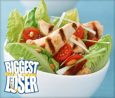 chargrilled chicken and lettuce salad in bowl