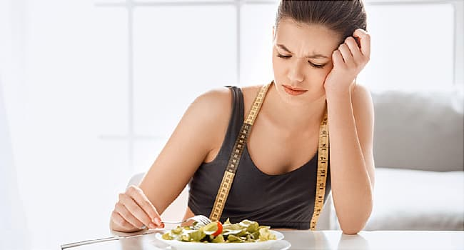 woman doesn't want to eat