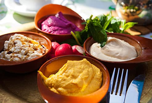 bowls of hummus and bean dips