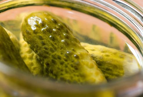 jar of pickles close up