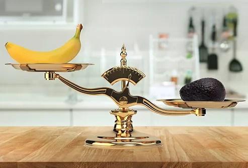 avocado and banana on scale