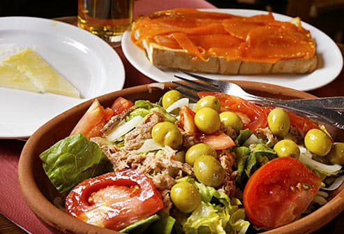 mediterranean salad and salmon