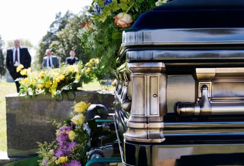 Funeral Procession In Cemetery