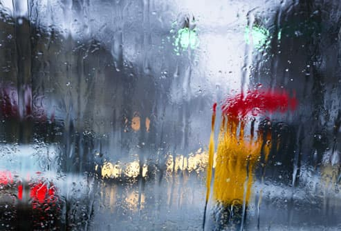 Looking Out Window on a Rainy Day