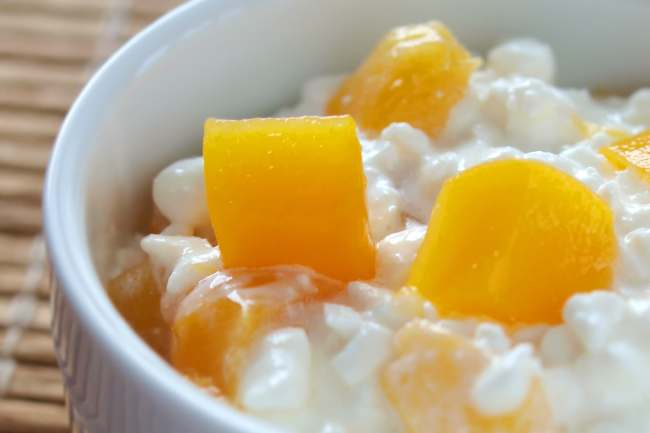 photo of cottage cheese and diced peaches