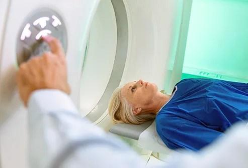 woman receiving mri scan