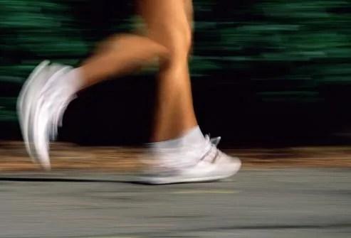 feet of woman running