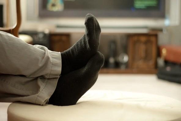 photo of feet on ottoman