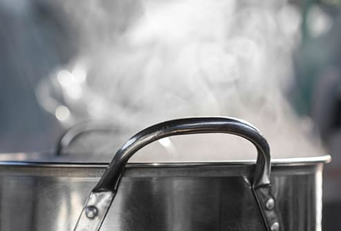 steam rising from pot